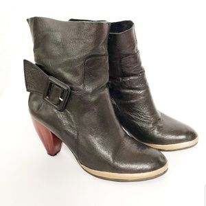 Anthropologie FarylRobin Black Leather Heeled Boot
